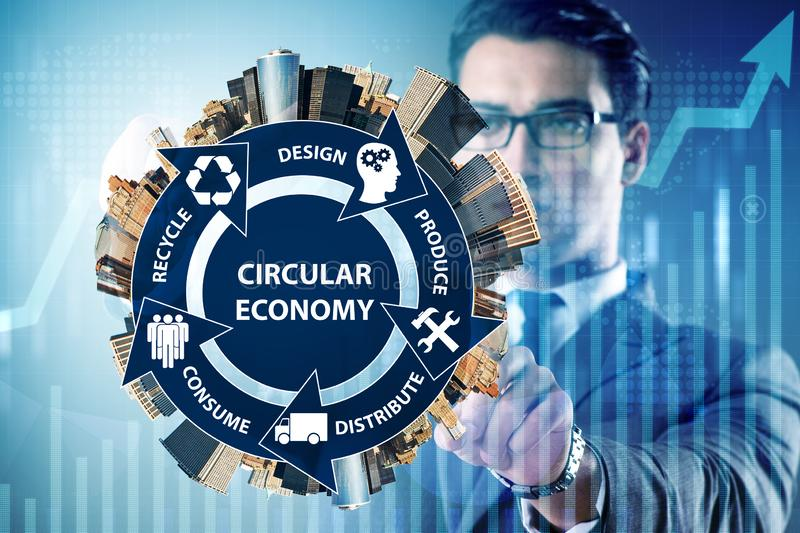 The concept of circular economy with businessman. Concept of circular economy with businessman royalty free stock image