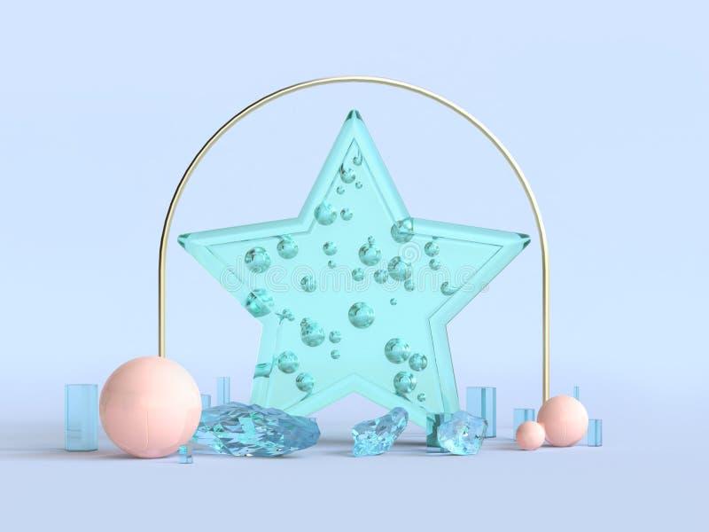 concept clair de Noël de décoration de forme d'étoile de vert du rendu 3d illustration libre de droits
