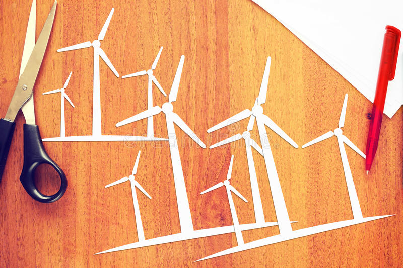 Concept of clean renewable energy. Abstract image with paper scrapbooking stock photo