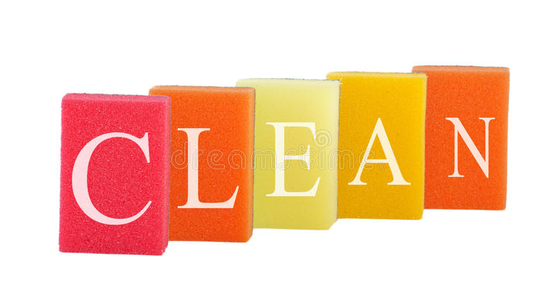 Concept cleanliness. Group of kitchen sponges. Concept cleanliness. Group of kitchen colorful sponges with labeled clean isolated on white background royalty free stock photo