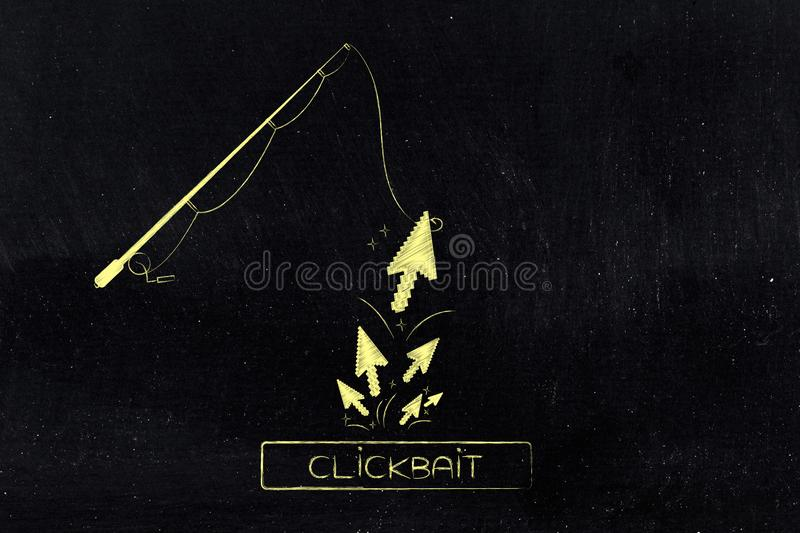 Fishing rod with ciickbait button and group of mouse pointer clicks coming from it. Concept of clickbait on online content: fishing rod with ciickbait button and royalty free stock images