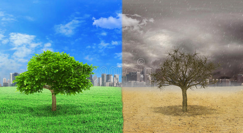 The concept of climate changed. Tree alive and dead tree standing at the different sides of climates on city background. Save the environment. 3D Illustration stock images