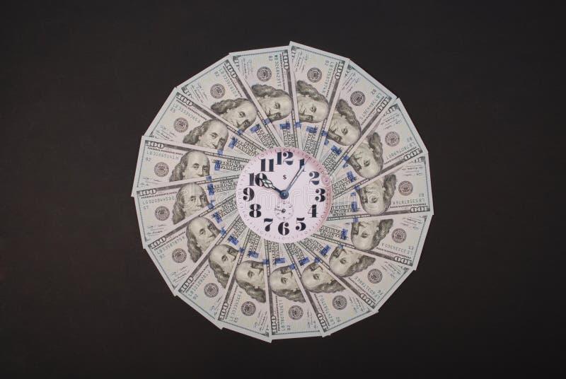 Concept of clock and dollar. Clock on mandala kaleidoscope from money. Abstract money background raster pattern repeat mandala stock image