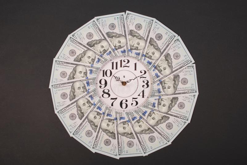 Concept of clock and dollar. Clock on mandala kaleidoscope from money. Abstract money background raster pattern repeat mandala stock photography