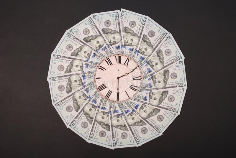 Concept of clock and dollar. Clock on mandala kaleidoscope from money. Abstract money background raster pattern repeat mandala royalty free stock photos