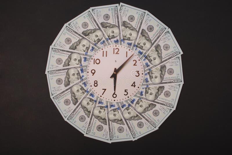 Concept of clock and dollar. Clock on mandala kaleidoscope from money. Abstract money background raster pattern repeat mandala stock photos