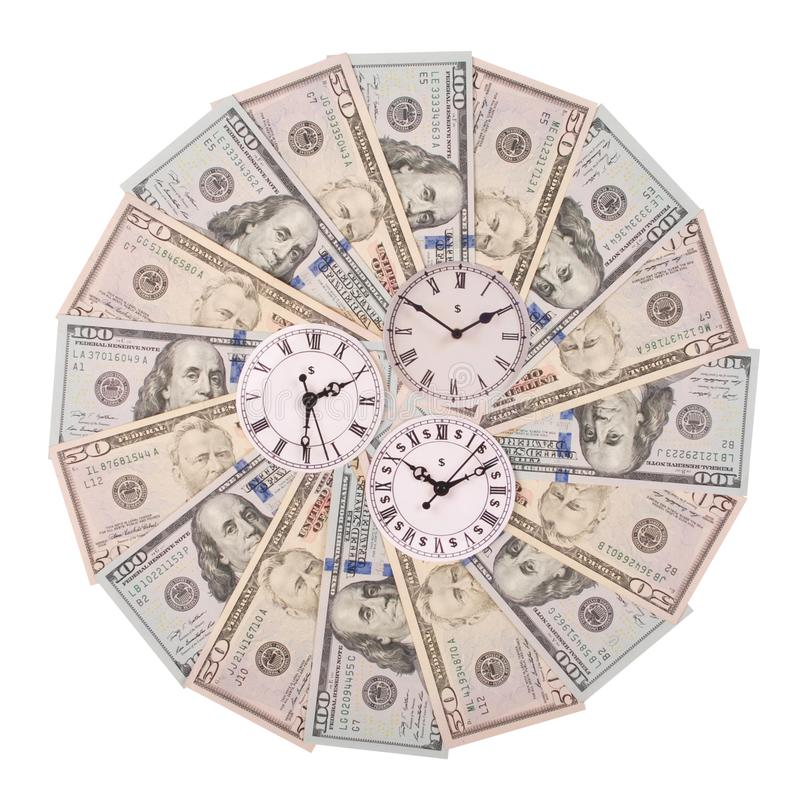 Concept of clock and dollar. Clock on mandala kaleidoscope from money. Abstract money background raster pattern repeat mandala. Circle. On white background stock image