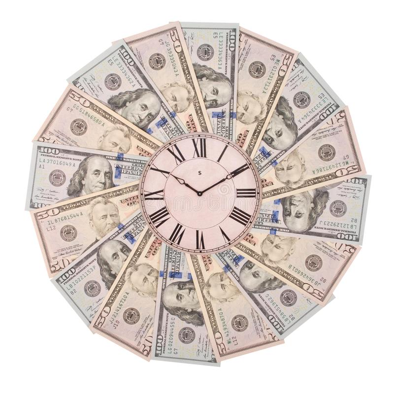 Concept of clock and dollar. Clock on mandala kaleidoscope from money. Abstract money background raster pattern repeat mandala. Circle. On white background stock photo
