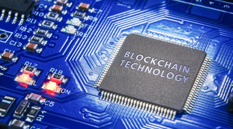 The concept of closure, protection. Technology blockchain, encryption of Internet traffic. Electronic components on a dark backgro stock image