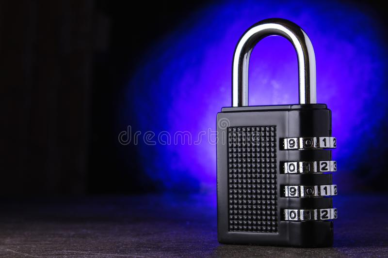 The concept of closure, protection. Technology blockchain, encryption of Internet traffic. password protection. Blue background. royalty free stock photo