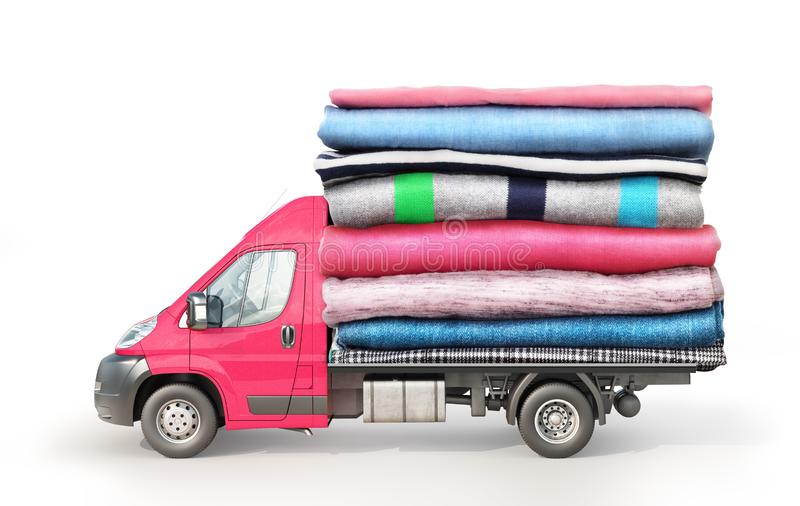 Concept of clothing delivery. A van with a stack of clothes on a platform isolated royalty free stock photos