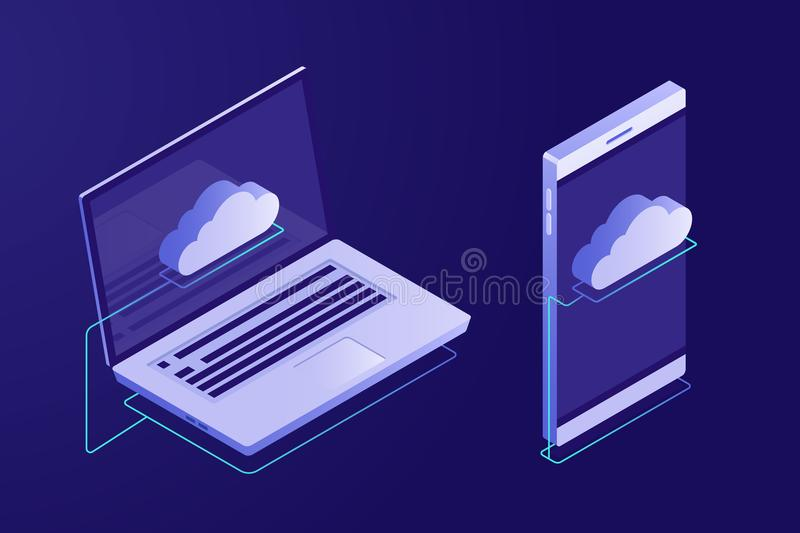Concept of cloud computing. Devices connected to the cloud. Synchronizing devices with cloud storage. Isometric style vector illustration