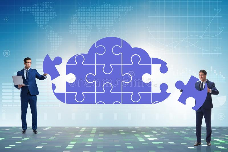 Concept of cloud computing with jigsaw puzzle royalty free stock photos