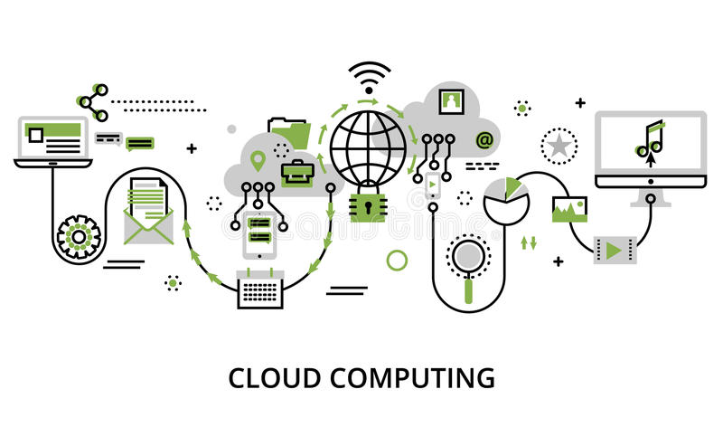 Concept of cloud computing technologies, protect computer networks and remote data storage royalty free illustration