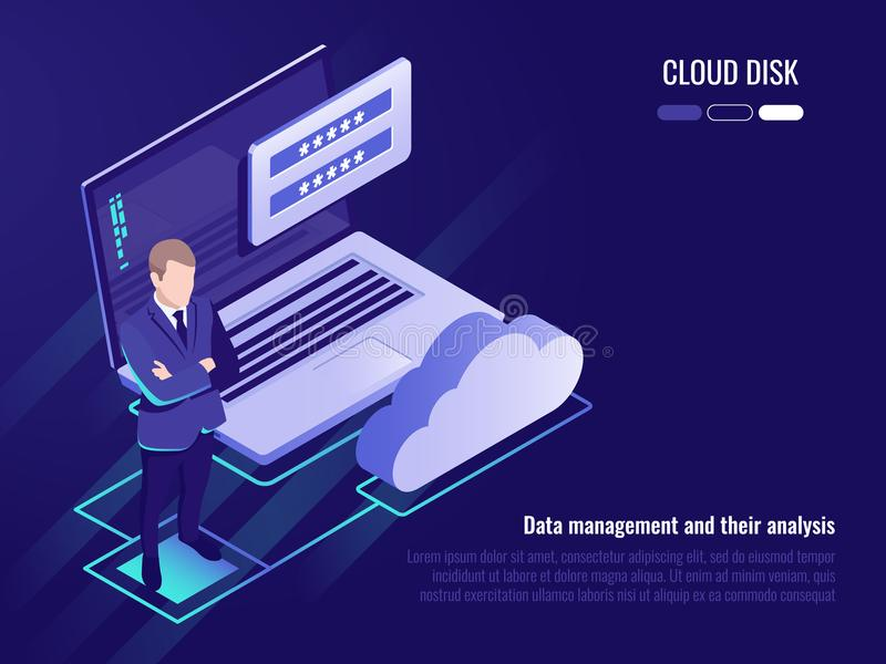 Concept of cloud disk and data access, businessman stay on background of laptop with login form and cloud icon vector illustration
