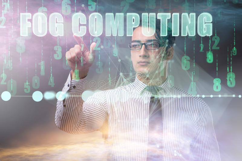 Concept of cloud edge and fog computing. The concept of cloud edge and fog computing stock photos