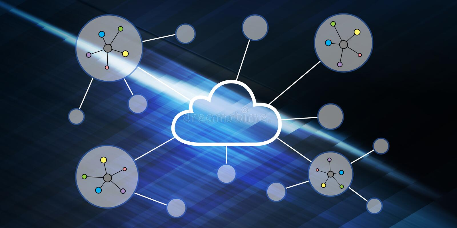 Concept of a cloud networking royalty free illustration