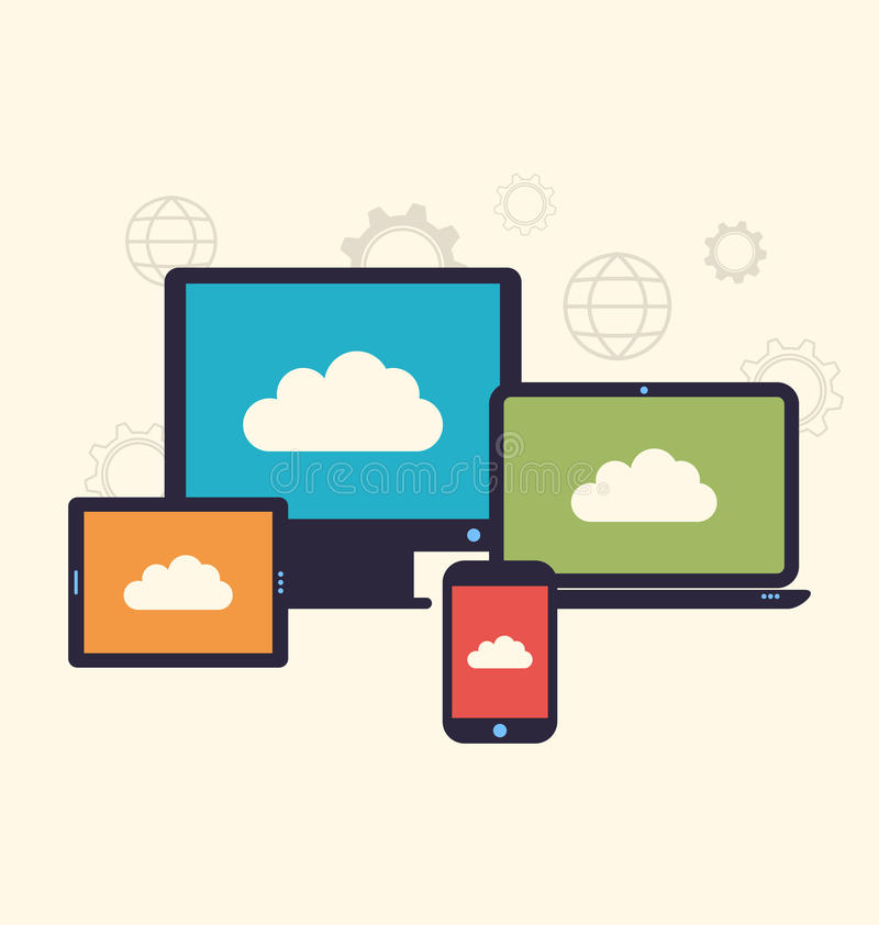 Concept of cloud service and mobile devices, trendy flat style. Illustration concept of cloud service and mobile devices, trendy flat style - vector stock illustration