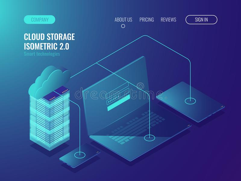 Concept of cloud storage, data transfer. Server room, big data center isometric vector 3d. Concept of cloud storage, data transfer. Server room, big data center stock illustration