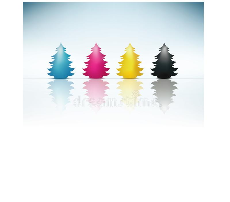 Concept cmyk Christmas tree in cyan magenta yellow black. Merry Christmas. Concept Christmas greetings with Christmas tree colored reflections in cyan magenta stock illustration