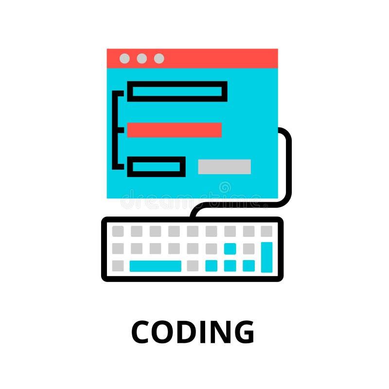 Concept of coding process icon. Modern flat editable line design vector illustration, concept of coding process icon, for graphic and web design royalty free illustration