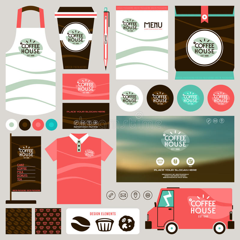 Concept for coffee shop identity mock up template vector illustration