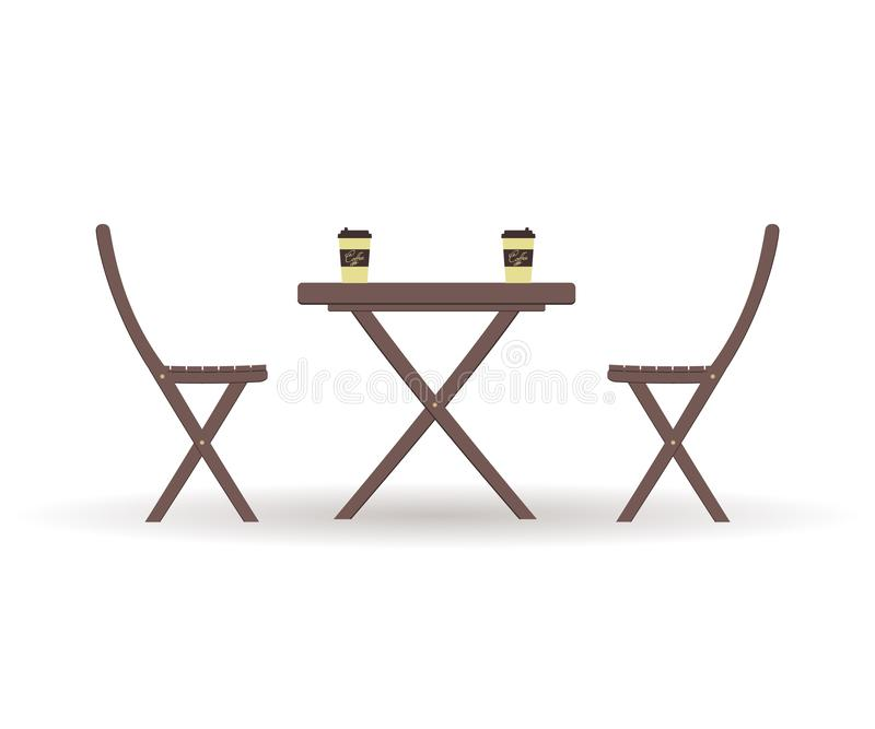 Concept of coffee time: wooden garden furniture or a set of furniture for the balcony: folding table with cardboard pistachio stock illustration