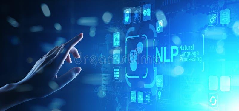 Concept cognitif de technologie informatique de traitement de langage naturel de NLP sur l'écran virtuel illustration de vecteur