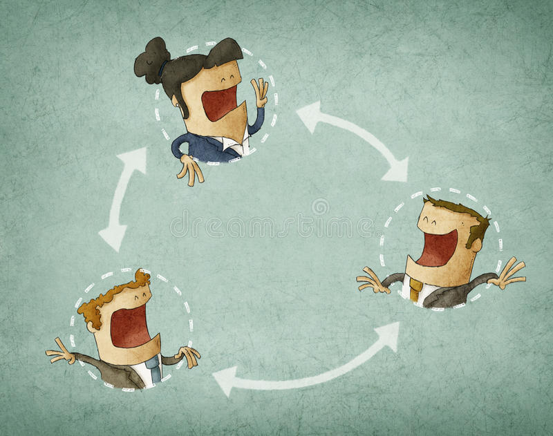 Concept of collaboration. Illustration with group of colleagues interacting vector illustration