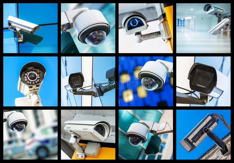Collage of closeup security CCTV camera or surveillance system. Concept Collage of closeup security CCTV camera or surveillance system royalty free stock photos