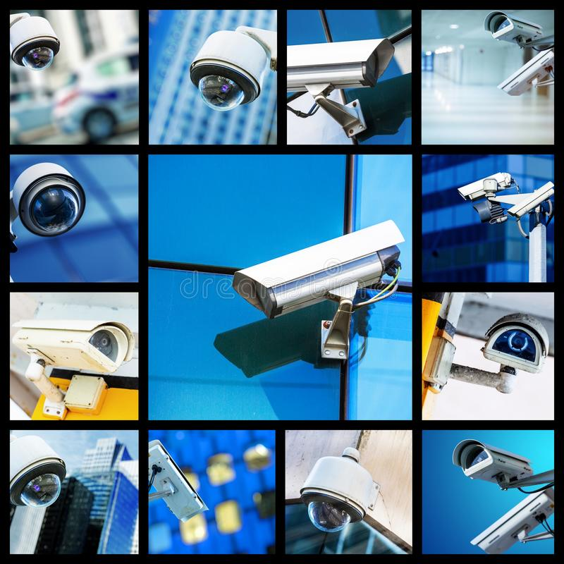 Collage of closeup security CCTV camera or surveillance system. Concept Collage of closeup security CCTV camera or surveillance system royalty free stock photo