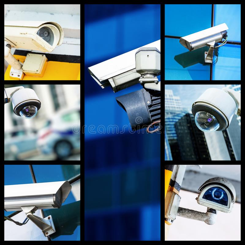 Collage of closeup security CCTV camera or surveillance system stock image