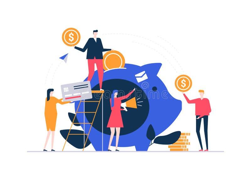 Concept collectant des fonds - illustration plate colorée de style de conception illustration stock