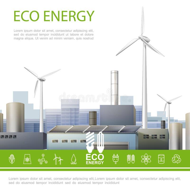 Concept coloré d'énergie réaliste d'Eco illustration de vecteur