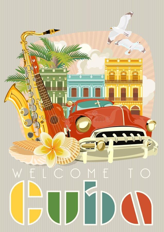 Concept coloré d'affiche de voyage du Cuba Accueil vers le Cuba Illustration de vecteur avec la culture cubaine illustration stock