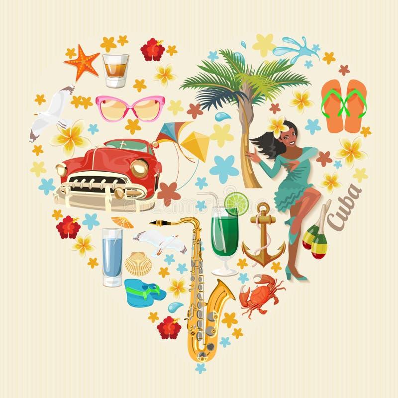 Concept coloré de carte de voyage du Cuba Forme de coeur Type de cru Illustration de vecteur avec la culture cubaine illustration de vecteur