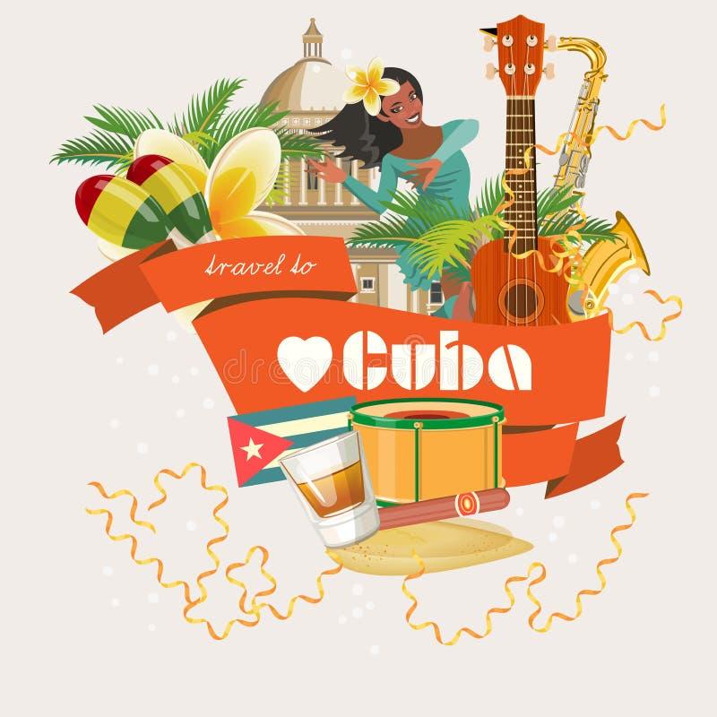 Concept coloré de carte de voyage du Cuba Voyage vers le Cuba Type de cru Illustration de vecteur avec la culture cubaine illustration libre de droits