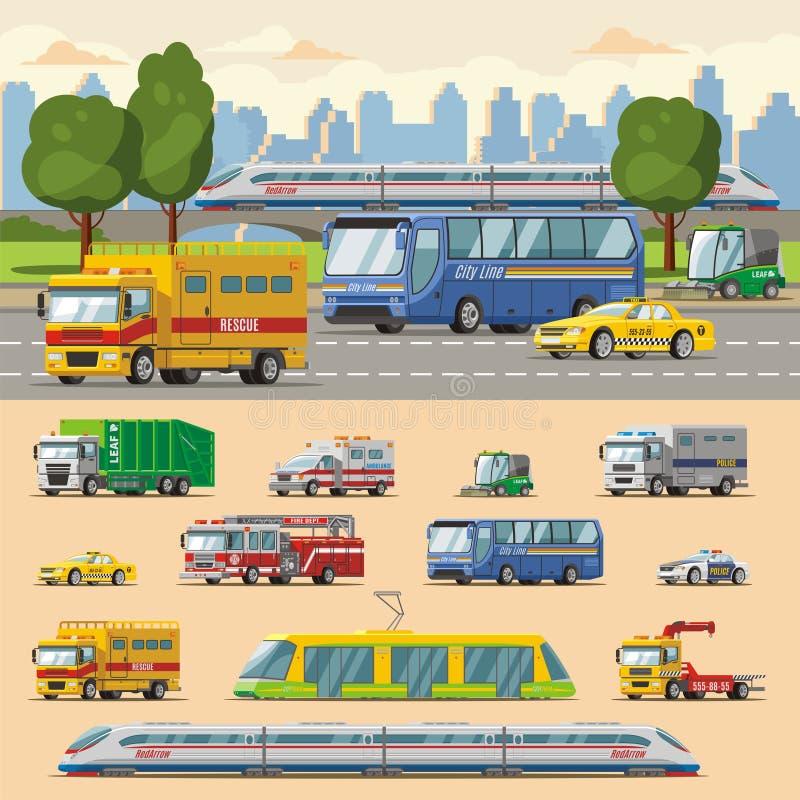 Concept coloré de transport urbain illustration stock