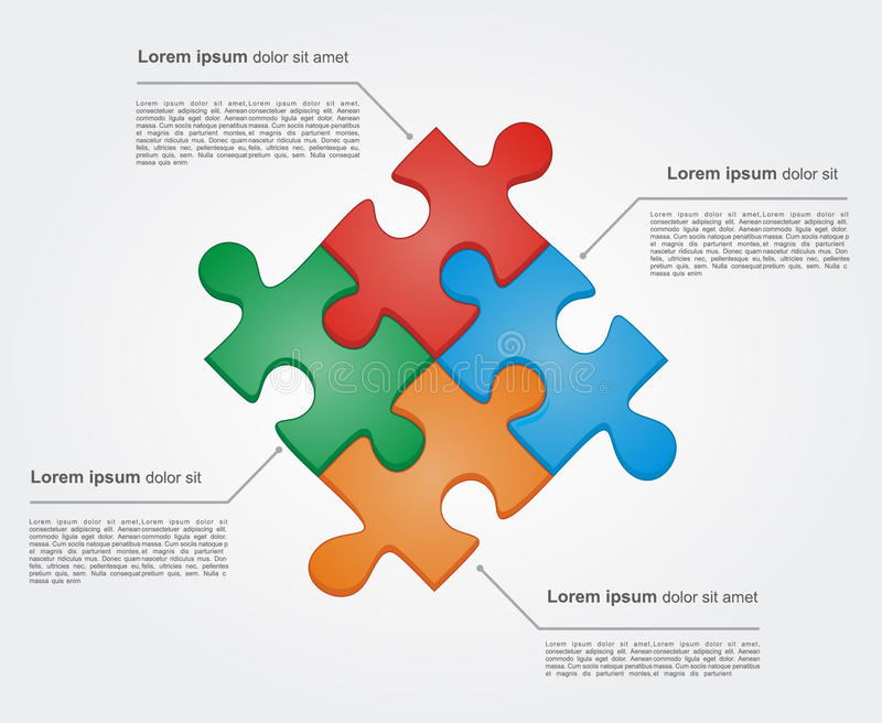 Concept of colorful puzzle pieces vector illustration