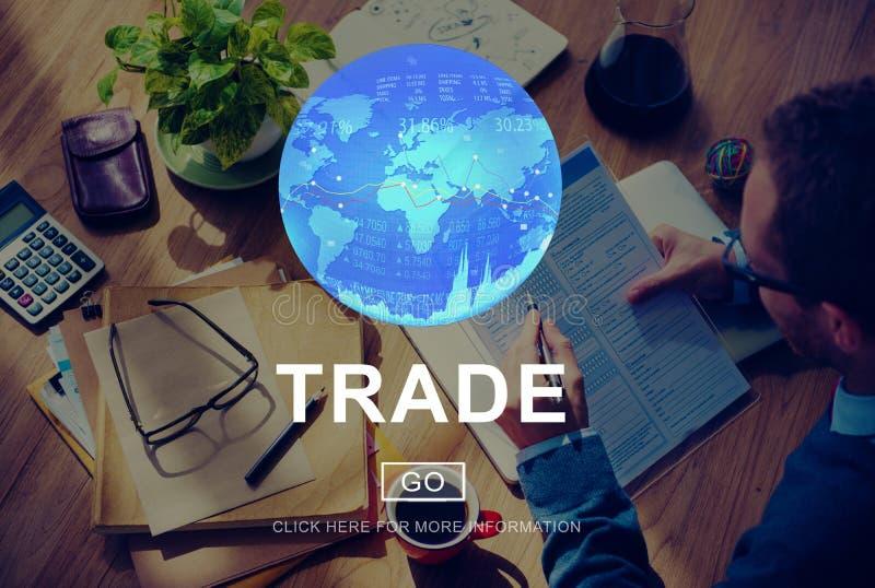 Concept commercial de marchandises d'échange de commerce d'échange images stock