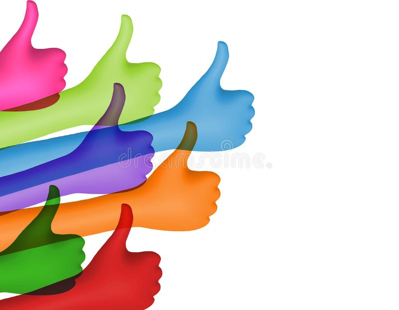 Share and follow. Colored hands with thumbs up. Social network concept. Positive and approval. Online community. Communication bet stock illustration