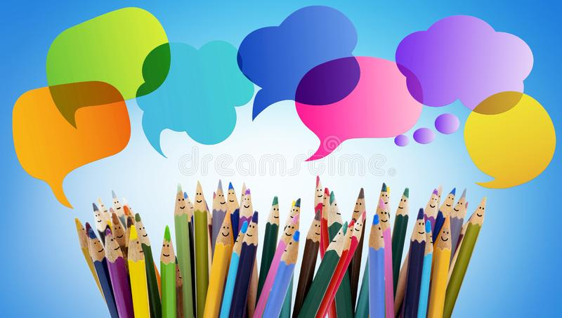 Speech bubble. Colored pencils funny faces of people smiling. Dialogue group of people. Crowd Talking. Group of people talking. So royalty free stock photography
