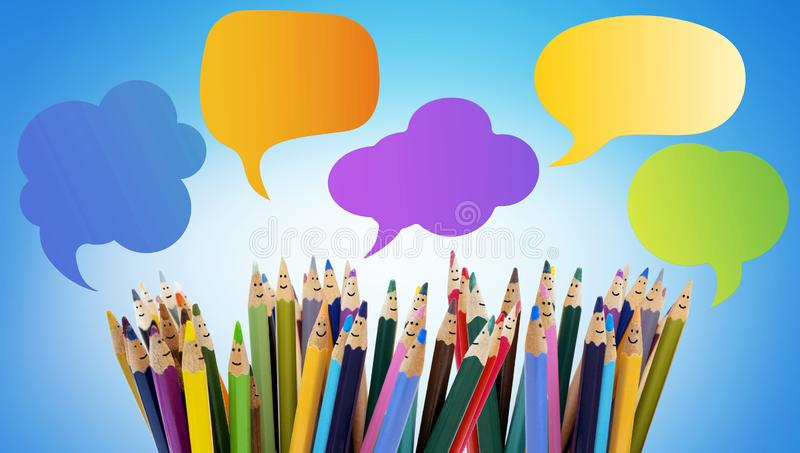 Colored pencils funny faces of people smiling. Dialogue group of people. Crowd Talking. Speech bubble. Group of people talking. So stock photography
