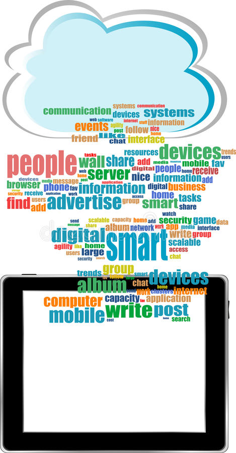 Concept communicator with social network word. Vector concept communicator with social network word cloud with tablet pc royalty free illustration
