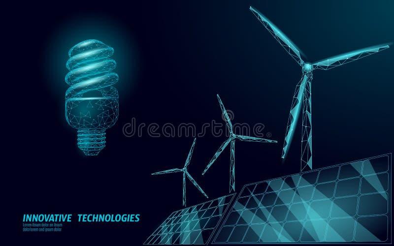 Concept compact fluorescent d'affaires d'idée de moulins à vent d'ampoule Énergie verte éolienne de sauvegarde d'environnement d' illustration de vecteur