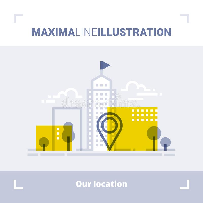 Concept of company location, office address, pointer, business center, downtown view. Maxima line illustration. Modern flat design. Vector composition stock illustration