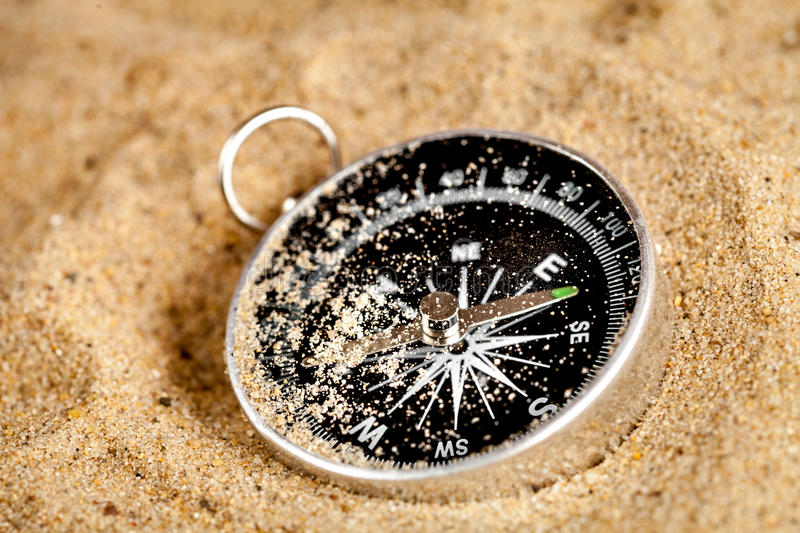 Concept compass in sand searching meaning of life. Close up stock image