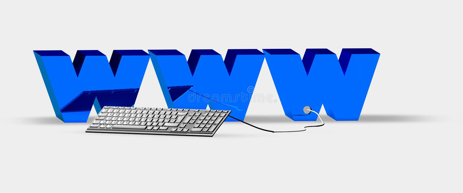 Concept of a computer keyboard connected with Web vector illustration
