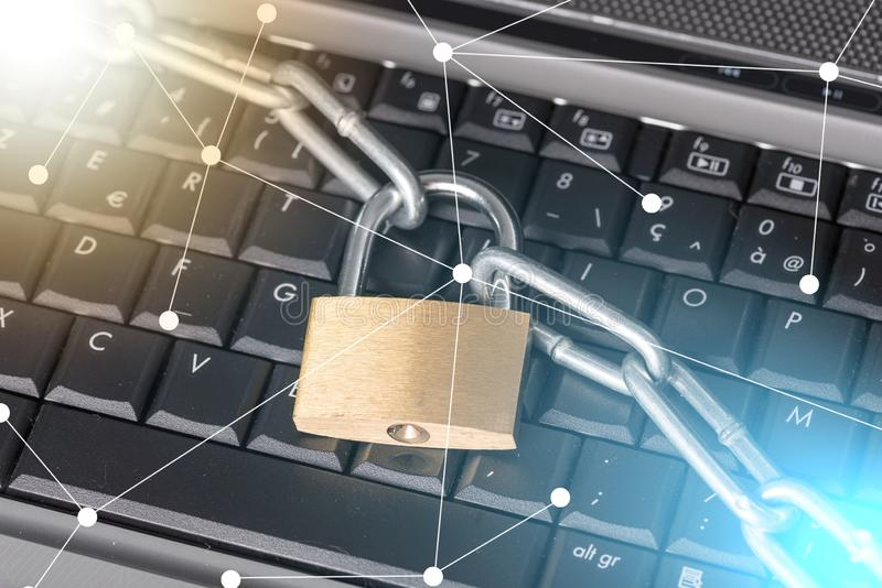Concept of computer security, light effect royalty free stock images