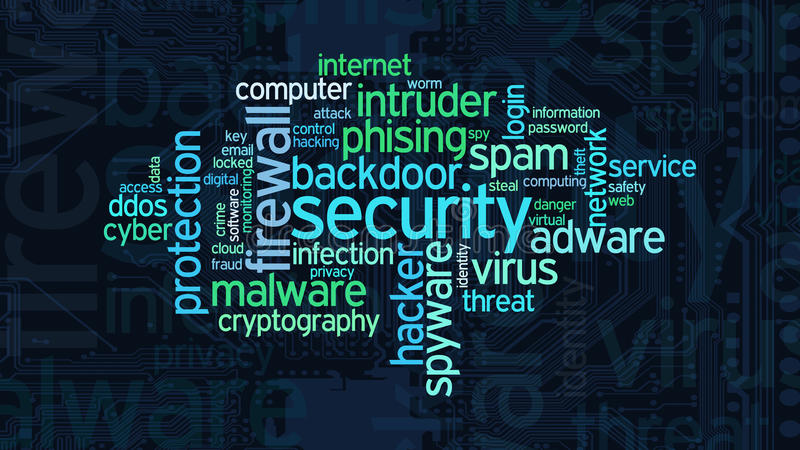 Concept of computer security. Word cloud with terms about computer security, flat style royalty free illustration